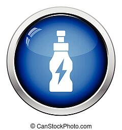 Energy drinks bottle icon. Glossy button design. Vector...