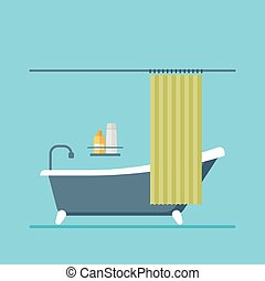 modern design shower room with a curtain