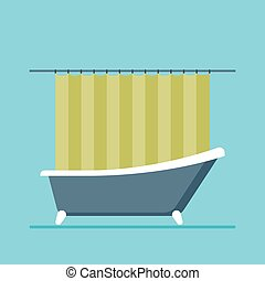 modern shower room with a close curtain
