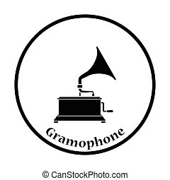 Gramophone icon Thin circle design Vector illustration