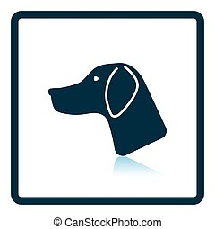 Hunting dog head icon. Shadow reflection design. Vector...