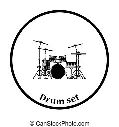 Drum set icon Thin circle design Vector illustration