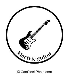 Electric guitar icon Thin circle design Vector illustration...