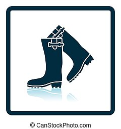 Hunter's rubber boots icon. Shadow reflection design. Vector...