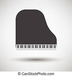 Grand piano icon on gray background, round shadow. Vector...
