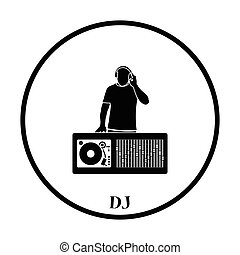 DJ icon. Thin circle design. Vector illustration.