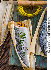 seabass fillets with herbs and olive oil