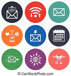 Mail envelope icons Message document symbols - Wifi, mobile...