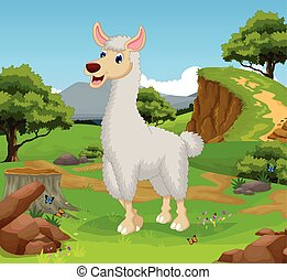 funny lama cartoon in the jungle - vector illustration of...