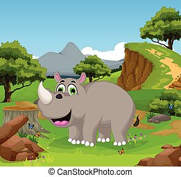 funny rhino cartoon in the jungle