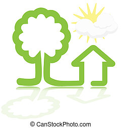 house and tree - illustration, green sidebar tree and...
