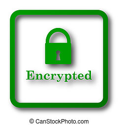 Encrypted icon. Internet button on white background.
