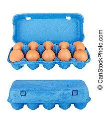 papelão, ovo, caixa, com, ovos