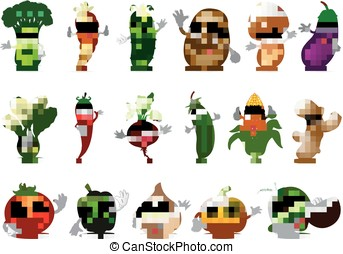 Funny various cartoon vegetables - vector illustration of...