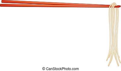 Chopsticks holding noodles - Wooden chopsticks in red design...