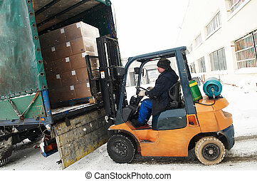 warehouse forklift loader work - warehouse forklift loader...