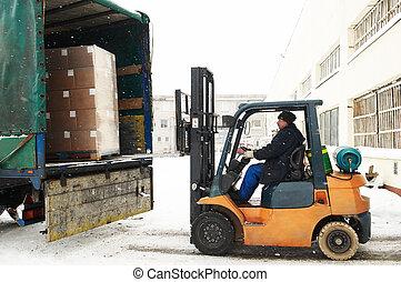 warehouse forklift loader work
