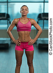 Young Sporty Fit Caucasian Female Model Posing - Portrait Of...