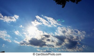 summer sky sun shining and moving clouds passing - summer...