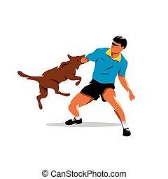 Vector Dog training. Biting dog and Man. Cartoon Illustration.