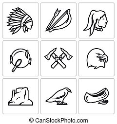 Vector Set of Apaches Icons. Injun, Bow and arrow,...