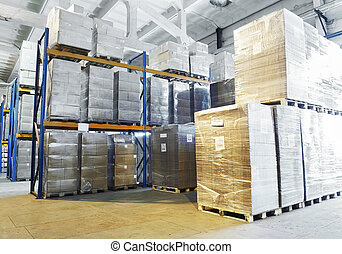 warehouse with shelves rack arrangement