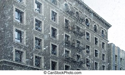 Apartment Building In Snowfall - Typical apartment building...