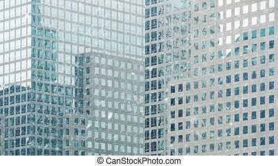 Office Buildings In Snowfall - Large modern offices with...