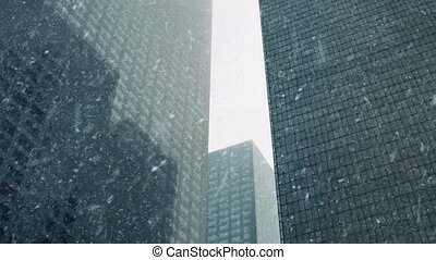 Skyscrapers In Snowstorm - Huge downtown skyscrapers in...