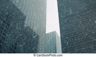 Skyscrapers In Snowstorm - Huge downtown skyscrapers in...