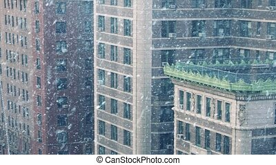 City Buildings In Blizzard - Large city blocks in winter...