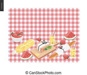 Picnic plaid and snack template - vector cartoon flat...