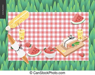 Picnic plaid and snack on green grass template - vector...