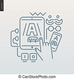 App development outlined icon - contemporary flat vector...