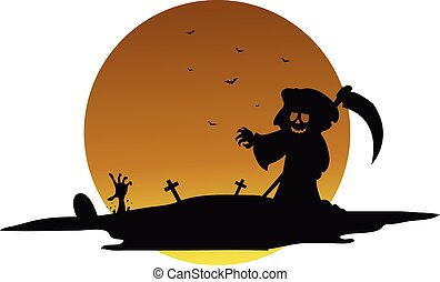Scary warlock halloween silhouette vector art illustration