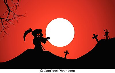Silhouette of warlock halloween in tomb full moon background