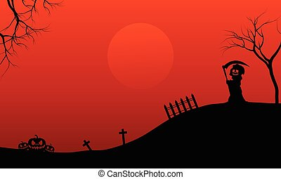 Silhouette of warlock and pumpkins Halloween vector art