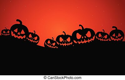 Silhouette of Halloween pumpkins scary vector illustration