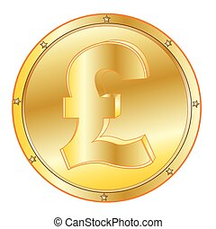 Coin pound sterling - Round coin from gild on white...