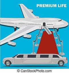 Premium life, limousine and red carpet concept, flat design,...