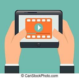 Video design illustration - Video design over blue...