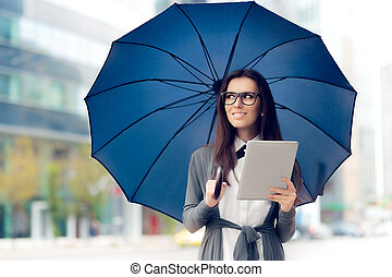 Girl with Glasses, Pad and Umbrella