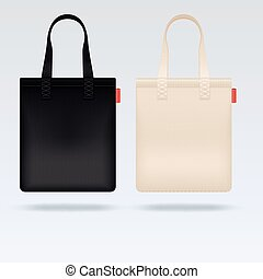 White and black fabric cloth tote bags vector mockup....