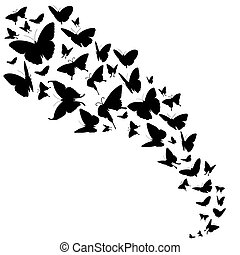 Abstract vector backdrop with butterflies design