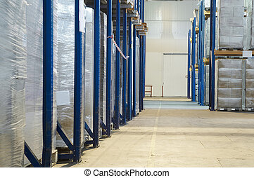 warehouse with rack arrangement - rack stack arrangement of...