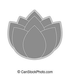grey flower icon - grey nine petal flower flat design icon...