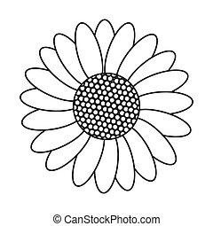black line flower icon - simple black line multiple petal...