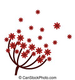 red flowers icon - flat design red flowers icon vector...
