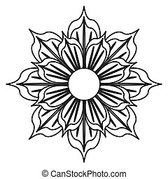 black and white flower icon - detailed petal flower flat...