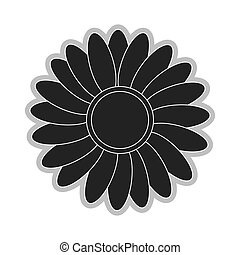 grey flower icon - grey multiple petals flower flat design...